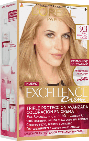 Permanent Hair Color Rubio Muy Claro Dorado Excellence Packshot