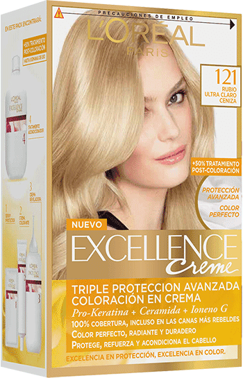Permanent Hair Color Rubio Ultra Claro Ceniza Excellence Packshot